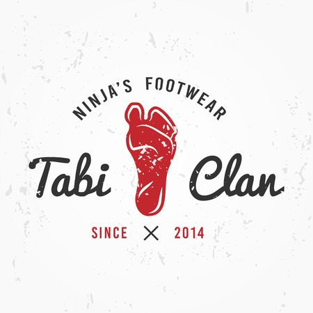 sensei: Japanese Ninja Logo. Footwear insignia design. Vintage tabi foot  badge. Martial art Team t-shirt illustration concept on grunge background.
