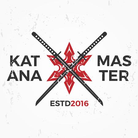 Set of Japan Ninjas Logo. Katana weapon insignia design. Vintage ninja mascot badge. Martial art Team t-shirt illustration concept Logo