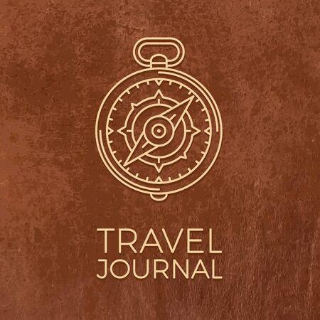 Retro dünne Linie Reise Illustration. Skizzieren Sie Vintage Reise-Symbol. Einfache Mono linear Tour-Logo. Stroke-Vektor-Expedition Konzept auf Leder Textur Hintergrund.