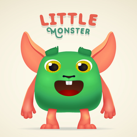 mutant: Cute Cartoon Green alien Creature character with little monster lettering. Fun Fluffy mutant rabbit isolated on light background