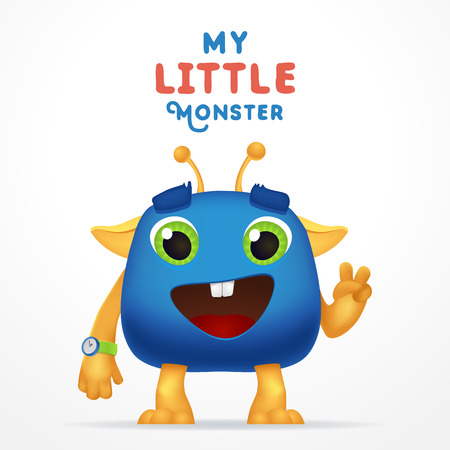 Funny Blue Cartoon alien invader. my little monster typography. Cute Fluffy character with watch isolated on light background