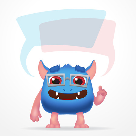 ugly gesture ugly gesture: Comic Blue education monster. Cute character with watch, speech bubbles and glasses isolated on light background Illustration