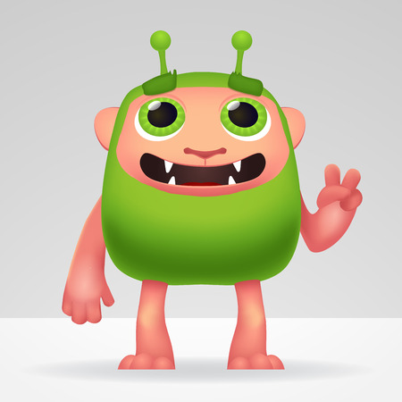 ogre: Cute green alien invader with silly smile and funny ears. Fluffy character isolated on light background for your kids design Illustration