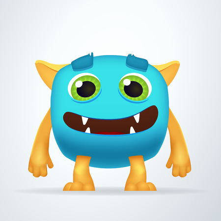 ogre: Cute colorful blue Ogre with silly smile and friendly eyes. Fun yeti creature isolated on white background