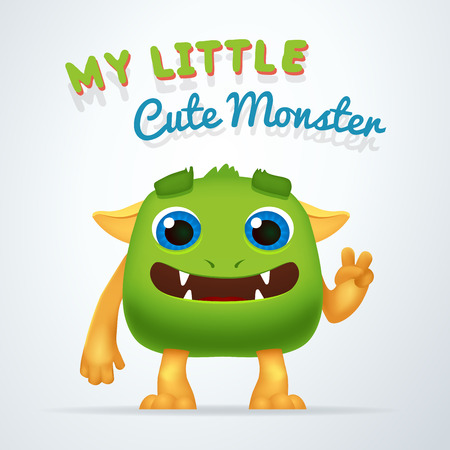 Cute Green alien beast character. My little cute monster typography. Fun Fluffy creature with victory gesture isolated on light background Illustration