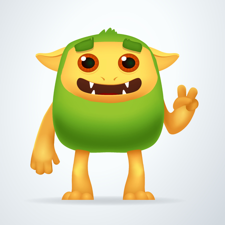 ogre: Cute Cartoon Green beast with victory gesture. Fun Fluffy impossible creature isolated on white background