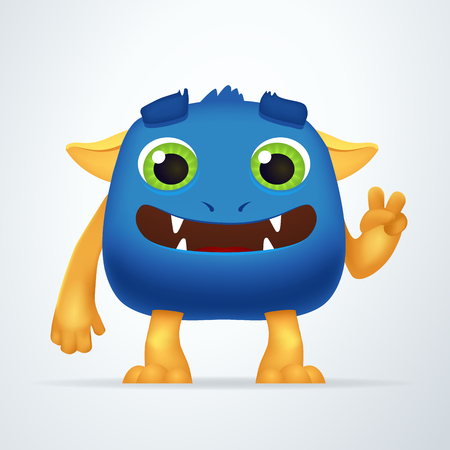 mutant: Funny blue and yellow cartoon alien monster creature character with victory gesture. Fun Fluffy mutant rabbit isolated on light background