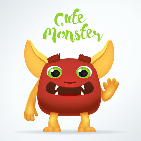 mutant: Comic Cartoon red creature character with cute monster lettering. Fun mutant isolated on light background Illustration