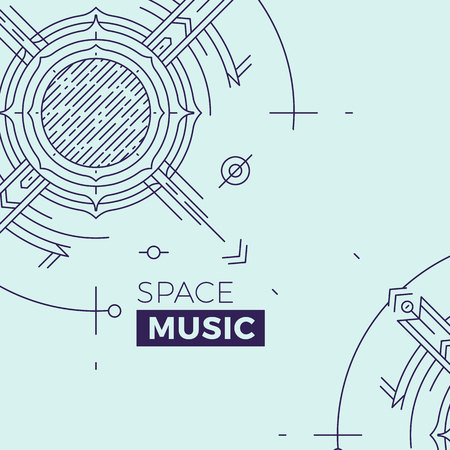 psy: Modern thin line music cover illustration. Outline space banner. Simple mono linear abstract banner design. Stroke vector concept for web graphics
