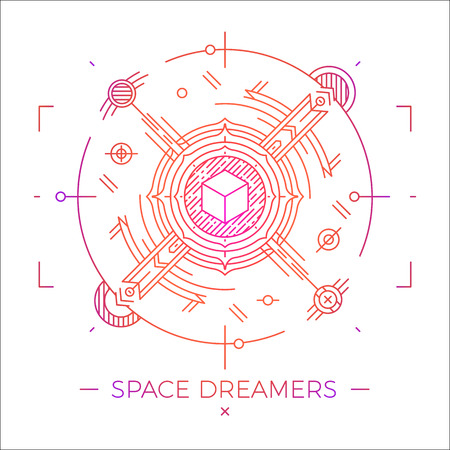 dreamer: Modern thin line space dreamers illustration. Outline cosmic symbol. Simple mono linear abstract design. Stroke vector logo concept for web graphics Illustration