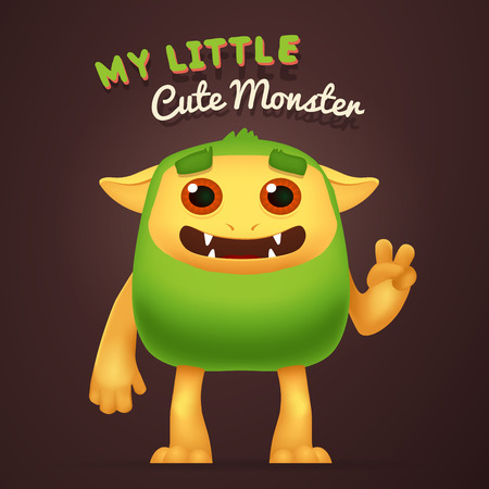 incredible: Cute Cartoon Green alien character with My little cute monster typography. Fun Fluffy incredible yeti creature isolated on brown background