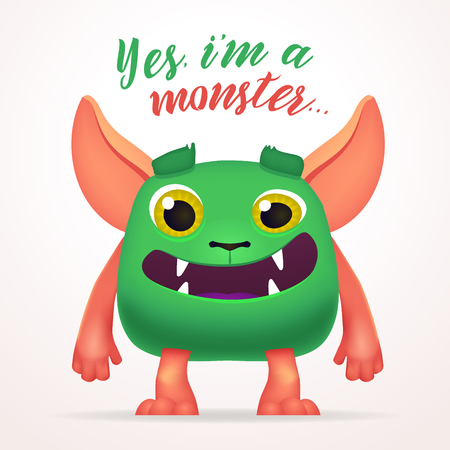 mutant: Cute Cartoon Green Creature character with yes i am a monster lettering. Fun Fluffy mutant rabbit isolated on light background Illustration