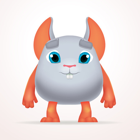 mutant: Cute gray mouse mutant. Fun Fluffy fat rabbit character isolated on light background. Silly cartoon monster for kids design