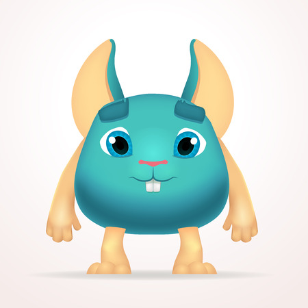 mutant: Big goofy mouse mutant character. Fun fat monster isolated on light background. Silly cartoon rabbit for kids design.