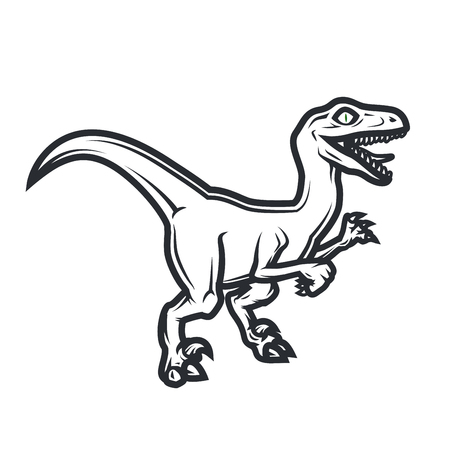 Prehistorical dino Logo concept. Raptor insignia design. Jurassic dinosaur illustration. T-shirt concept on white background