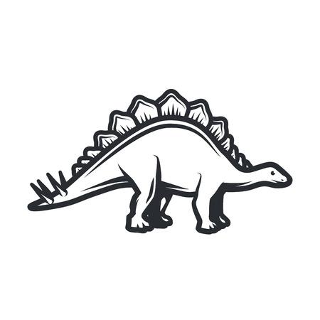 large skull: Vector dino Logo concept. Stegosaurus insignia design. Jurassic dinosaur illustration. T-shirt concept on white background.