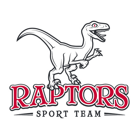 Vintage Jurassic raptor Logo. Dino sport mascot insignia badge design. College Team t-shirt illustration concept isolated on white background Illustration
