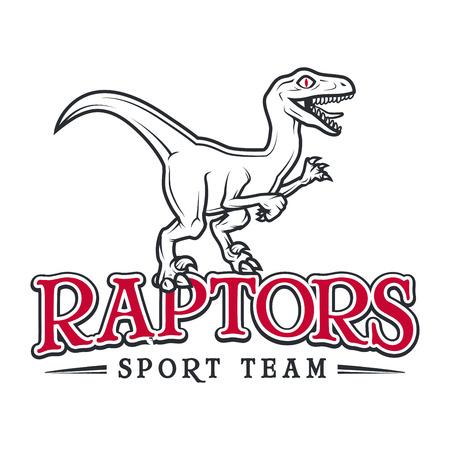 raptor: Vintage Jurassic raptor Logo. Dino sport mascot insignia badge design. College Team t-shirt illustration concept isolated on white background Illustration