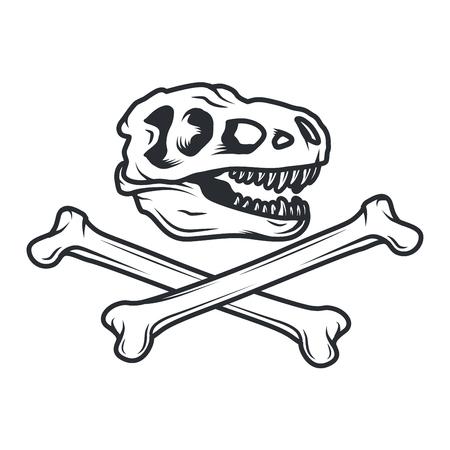 Prehistory dino Logo concept. T-rex insignia design. Jurassic dinosaur illustration. T-shirt concept on white background