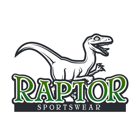 Dino Logo vector template. Raptor sport mascot logotype design. Vintage High School sport badge. Sportswear shop t-shirt illustration concept.