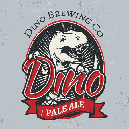 brewery: T-rex brewery insignia design. Illustration