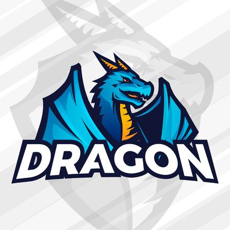 league: Dragon icon template. Sport mascot design. Football or baseball illustration. College league insignia, Asian beast sign, School team.