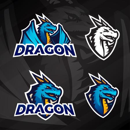 college football: Creative dragon icon concept. Sport mascot design. College league insignia, Asian beast sign, Dragons illustration, School football team on dark background.