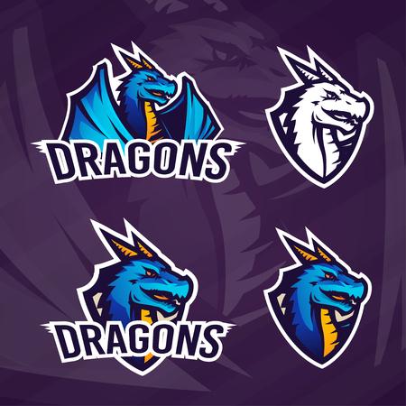 Creatieve dragon icon template. Sport mascotte van het ontwerp. College league insignes, Aziatische beest teken, School team. Vector Illustratie
