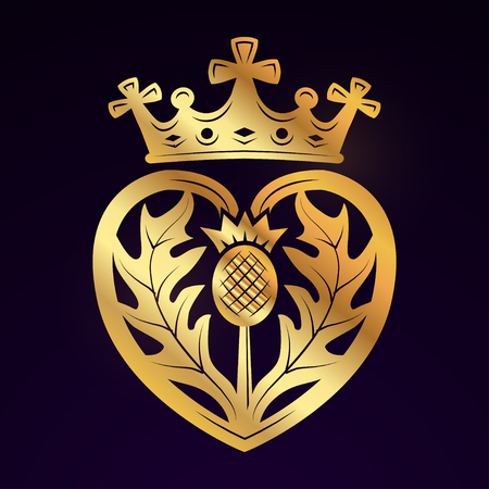 Luckenbooth 브로치 디자인 요소입니다. 왕관 심볼 아이콘 개념 빈티지 스코틀랜드 심장 모양입니다. 어두운 배경에 발렌타인 데이 또는 결혼식 그림입니