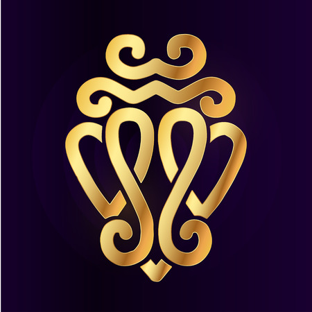 Oro Luckenbooth elemento de broche de diseño. concepto de la forma del corazón del icono del símbolo de la vendimia escocesa dos. día de la boda o de San Valentín ilustración sobre fondo morado.