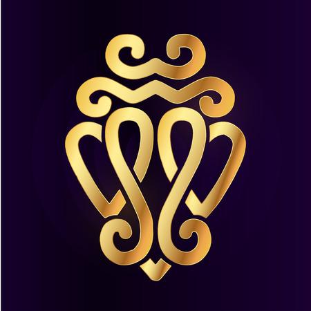 L'oro Luckenbooth elemento spilla design. Vintage scozzese due Simbolo di cuore concetto di icona. San Valentino o di nozze illustrazione su sfondo viola.