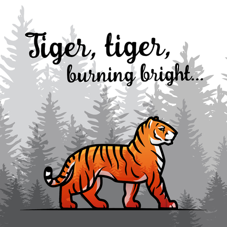 royal safari: Bengal Tiger in forest poster design. Double exposure vector template. Old poem by William Blake illustration on foggy background