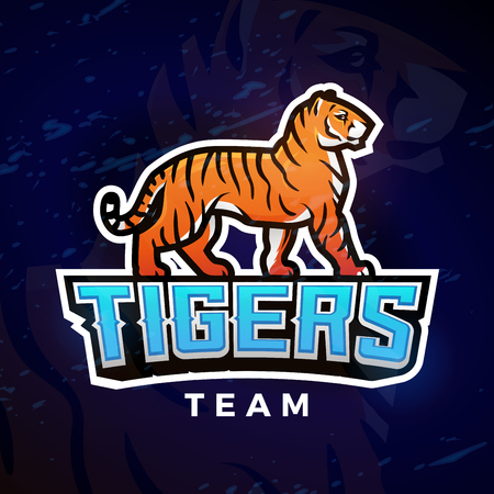 bengal fire: Tiger sport logo vector. Mascot design template. Football or baseball illustration. College league insignia, High School team logotype on dark background