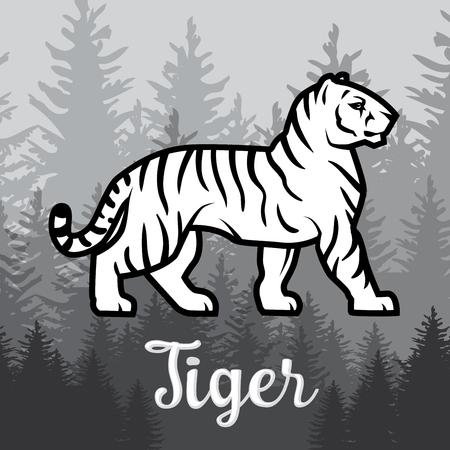 silueta tigre: Doble exposición de tigre blanco en diseño del cartel del bosque. ilustración vectorial en el fondo de niebla