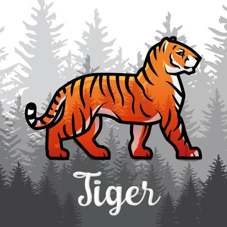 Doble exposición Tigre de Bengala en el diseño del cartel de los bosques. ilustración vectorial en el fondo de niebla