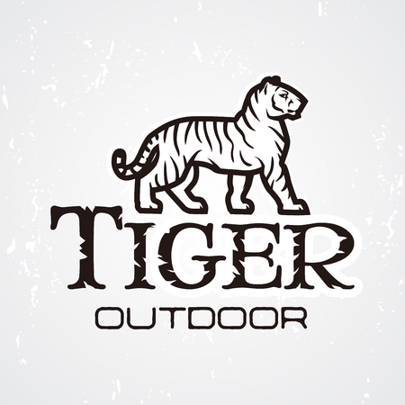 tigress: Tiger logo vector. Mascot design template. Shop or product illustration. Expedition insignia, Sport team logotype on light background
