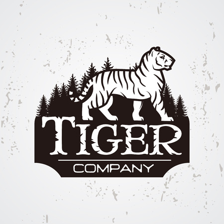royal safari: Bengal Tiger in forest logo vector. Mascot shirt design template. Shop or product illustration. Expedition insignia, Sport team logotype on light background