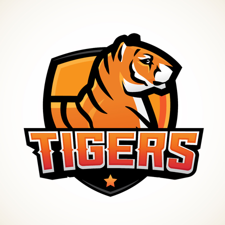 bengal fire: Tiger shield sport mascot template. Premade football or basketball patch design. College league insignia, High school team vector. Illustration