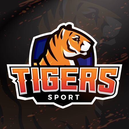 bengal fire: Tiger shield sport mascot template. Premade football, basketball or baseball patch design. College league insignia, High school team vector.