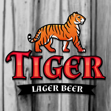 Bengal Tiger Beer logo vector. Lager Label design template. Predator insignia, Sport team logotype on wood texture background