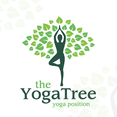 yoga girl: Vector yoga logo concept. tree position insignia design. Wellness center illustration. Girl with leaves on white background.