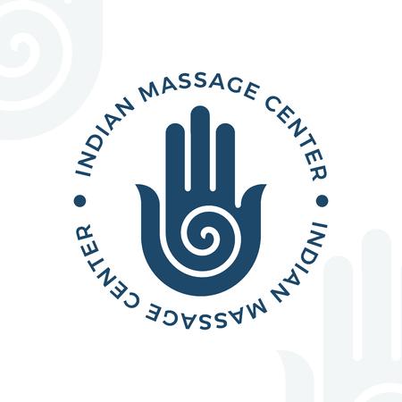 Yoga, meditation vector logo illustration. Decorative hamsa hand  element. Indian, Hindu design. Spirituality spiral insignia