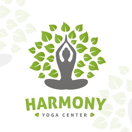 Vector yoga boom logo concept. Harmony insignia ontwerp. Wellness center illustratie. Meisje met bladeren op een witte achtergrond.