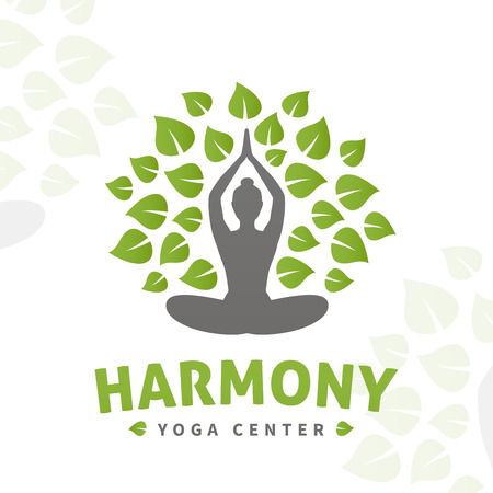 Vector yoga tree logo concept. Harmony insignia design. Wellness center illustration. Girl with leaves on white background