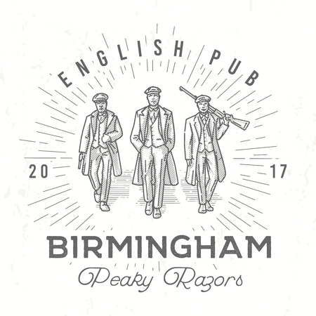 Retro peaky logo. Men in hats with blinders illustration. Gangsters vintage poster. English pub insignia. Birmingham gang vector design