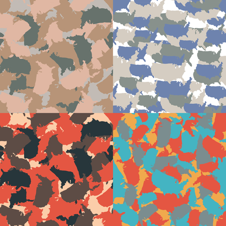 Set of USA shape camo seamless pattern. Colorful America urban camouflage. Vector fabric textile print design Ilustrace