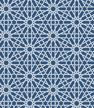 Seamless islamic Moroccan pattern. Arabic geometric ornament. Muslim texture. Vintage repeating background. Vector blue wallpaper. Oriental design and Ramadan wallpaper Ilustrace