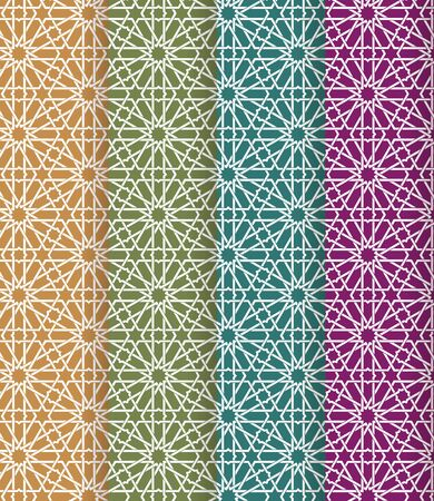 Seamless islamic Moroccan pattern set. Arabic geometric ornament. Muslim texture. Vintage repeating background. Vector blue wallpaper. Oriental design and Ramadan wallpaper