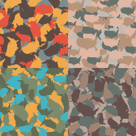 Colorful America urban camouflage. Set of USA shape camo seamless pattern. Vector fabric textile. Military print design. Ilustrace