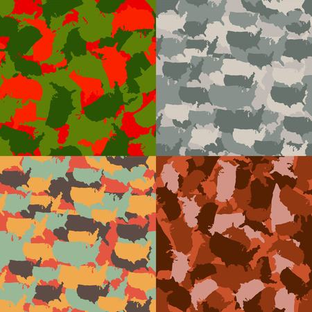 Set of USA shape camo seamless pattern. Colorful America urban camouflage. Vector fabric textile print design.
